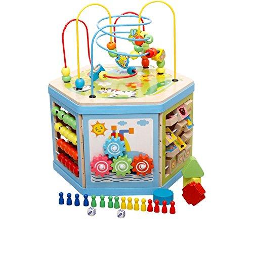 Unbekannt FEI Babyspielzeug Perlen-Rahmen-Achterbahn-Labyrinth-früher Bildungs-Spielzeug der hölzernen Kinder Frühe Erziehung