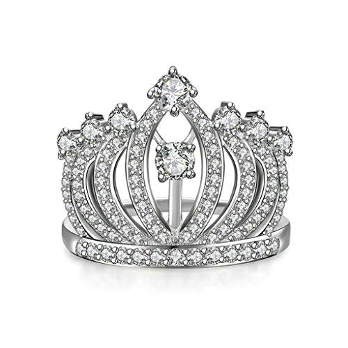 BeyDoDo Modeschmuck 925 Silber Frauen Ring Krone Zirkonia Verlobungsring Trauring Silber Ringgröße 62 (19.7)