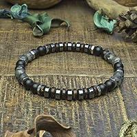 6c756fd1727 Bracelet Taille 19cm Homme Femme perles Ø6mm pierre Larvikite Labradorite  Agate Onyx noir mat