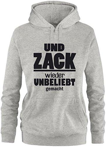 EZYshirt® Und Zack ! Wieder unbeliebt gemacht Damen Hoodie Grau/Schwarz