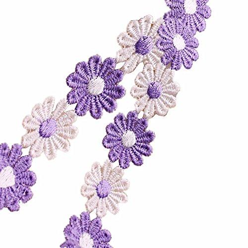 9,1 m Daisy Fleur de ruban de dentelle brodée Garniture Applique pour DIY Bijoux Craft Vêtements Accessoires Cadeau 2.5cm x 10ft Violet+White