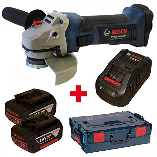 Batterie Bosch Meuleuse d'Angle GWS 18-125V-LI avec 2batteries 18V 6,0Ah et chargeur gal1880cv dans coffret L-Boxx taille 2/136