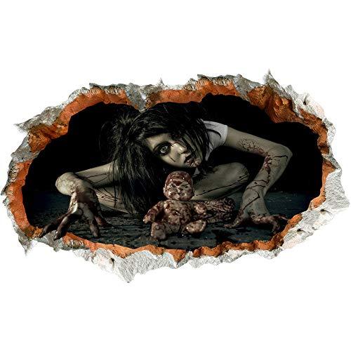 Yongqiang Halloween Wandaufkleber Umwelt Abnehmbare PVC Wasserdichte Fenster Aufkleber Wanddekoration 3D Simulation Horror Weiblichen Geist und Puppe DIY Aufkleber 93 * 56 cm