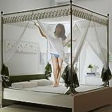 Vier ecke reißverschluss moskitonetz betthimmel, 3-türig Jurte Quadrat oben Bett sitzt Moskito vorhang-Grün Queen2