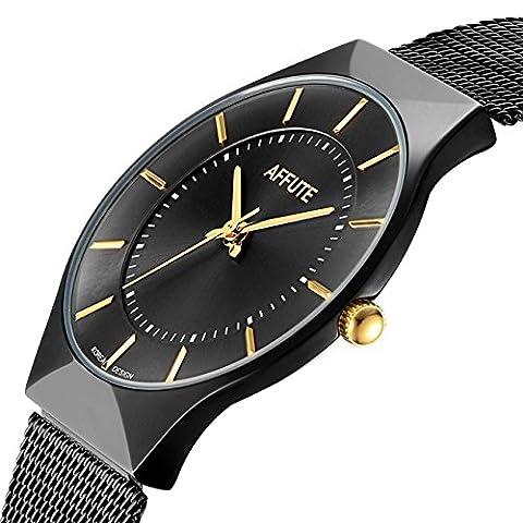 Affute Ultra Thin Analogue Quartz Men Watch Stainless Steel Mesh Strap Dress Watch,Black