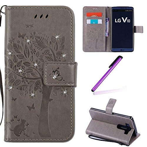 EMAXELERS LG V10 Hülle Glitzer Bling Wishing Tree Schmetterling PU Leder Flip Magnetisch Book Wallet Brieftasche Hülle für LG V10,Gray Wishing Tree with Diamond