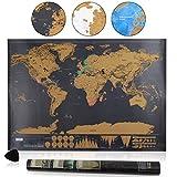 Amazy Weltkarte zum Rubbeln XXL + Packliste + Rubbelchip - Schöne Erinnerung an bisherige Reisen für jeden Globetrotter (Schwarz | 82 x 60 cm) -