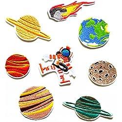 Hangnuo - Toppe termoadesive per bambini motivo spazio e alieni, ricamate, 10 pezzi 1