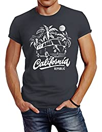 d8f75cb42b81 Neverless Herren T-Shirt California Surf Retro Bus Abenteuer Urlaub Palmen  Slim Fit