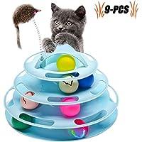 Legendog Katzenspielzeug, Vier Schichten Tierspielzeug Kätzchen Spielzeug Intelligenz Crazy Interactive Katzenspielzeug Tray-Spiel für Katzen (blau + 7 Bälle)