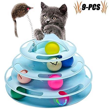 Legendog Katzenspielzeug, Vier Schichten Tierspielzeug Kätzchen Spielzeug Intelligenz Crazy Interactive Katzenspielzeug…