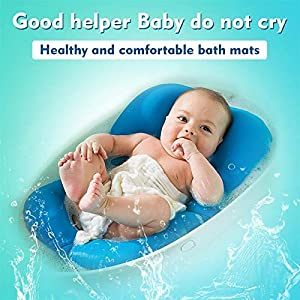 Baby Bather Infant Bath Pad, Moonvvin Floating Soft Baby Bath Pillow & Lounger Newborn Pad Tub Cushion (Blue)