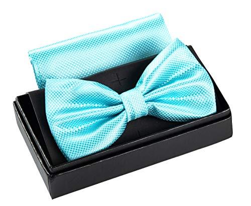 Massi Morino Papillon con fazzoletto in confezione regalo, papillon - set in diversi colori in microfibra, fiocco regolabile con fazzoletto coordinato (Turchese)