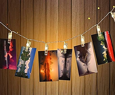 WONFAST LED Photo Clip String Lights, 20 Photo Clips, 8 Ft, Battery Powered, Warm White, (Albero Clipart)
