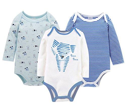 f6cc87f42accd Feoya Grenouillères Body Nouveau-né Bébé Fille Garçon Combinaison Pyjama  Ensemble de 3PCS en Coton
