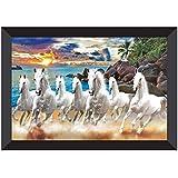 SAF 7 Running Horses Vastu UV Teatured Digital Reprint Framed Painting (11 inch X 14 inch) SANFK51