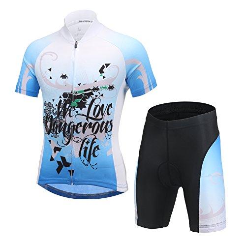 LSHEL Kinder Radsport Anzüge (Fahrrad Trikot Kurzarm + Radhose), Schwarz+Blau, 134/140(Herstellergröße: XL)