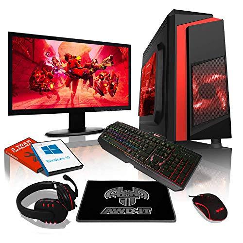 """AWD-IT Ensemble Gaming PC - Processeur AMD A10 9700 à 4 cœurs • Écran LED 22"""" • Clavier et Souris Gamer • 8 Go • 1 to • Étui à LED Rouge • WiFi • Windows 10"""