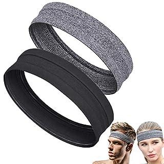 Sport Headband for Men Women Non-Slip Sweatband Elastic Fashion Hair Band for Sports Running, Crossfit, Cycling, Yoga, Basketball (2pcs Black+Grey)