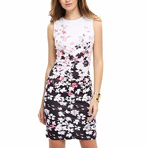 QIYUN.Z Femmes Sans Manches Bodycon Slim Fit Floral Impression Wiggle Crayon Robe Blanc