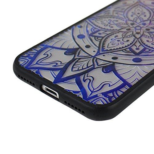 3 PCS iPhone 7 2 in 1 Hybrid Tasche, iPhone 7 Hülle Silikon, iPhone 7 Case Silikon, iPhone 7 Backcase, Moon mood® Soft TPU + Hart PC Case [ 2 in 1] Relief Handyhülle Schutzhülle Case für Apple iPhone  Stil - 9