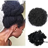 Extensions de cheveux bouclés synthétiques avec pinces et cordon synthétique - Cheveux crépus courts pour queue de cheval volumineuse