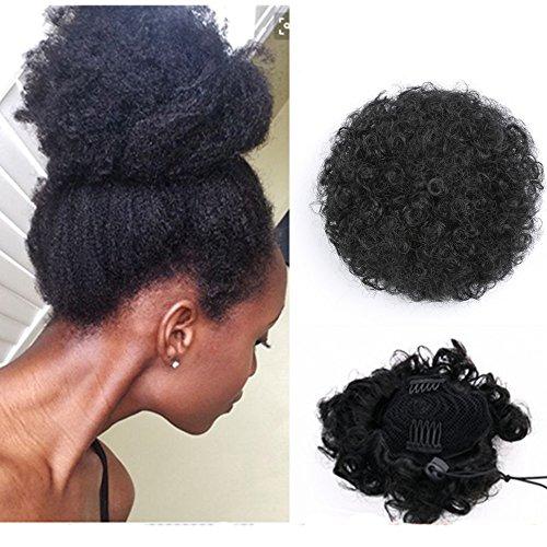 Gelocktes Kunsthaar Pferdeschwanz African American Short Afro Kinky Curly Wrap Synthetik Kordelzug Puff Pferdeschwanz Haarverlängerung Perücke mit Clips