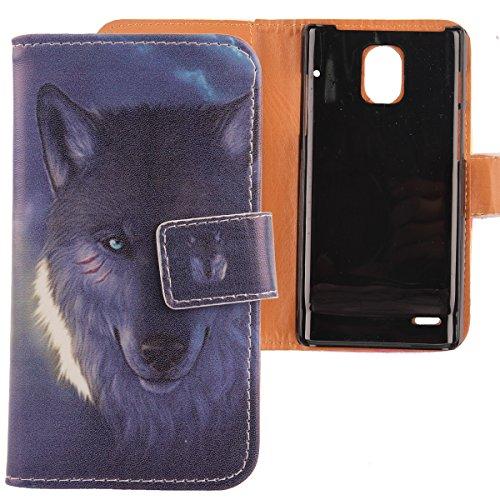 Lankashi PU Flip Leder Tasche Hülle Case Cover Schutz Handy Etui Skin Für Huawei Ascend P1 U9200 Wolf Design
