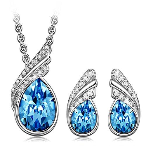 set collar + pendientes novia boda joyas con cristal de SWAROVSKI