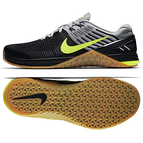 Nike PerformanceMETCON DSX Flyknit - Zapatillas Fitness e Indoor - Wolf Grey/Volt/Black/Med Brown