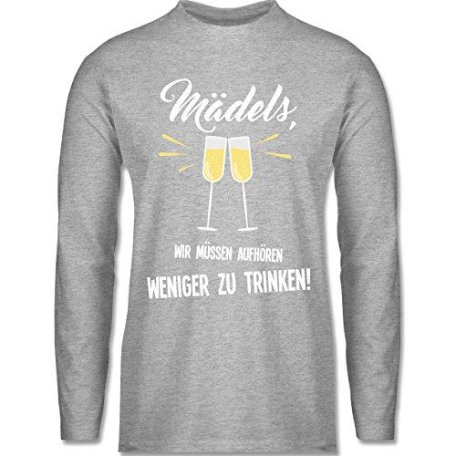 Shirtracer Statement Shirts - Mädels, Wir Müssen Aufhören Weniger zu Trinken - Herren Langarmshirt Grau Meliert