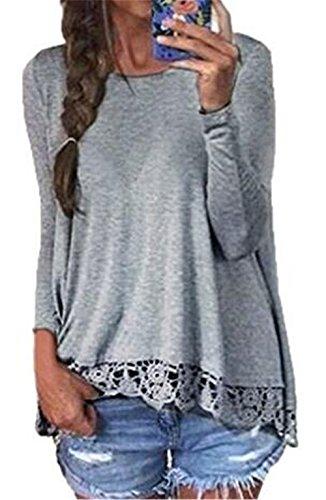 BESTHOO Camicia Donna Casuale Maglietta A Manica Lunga Rotondo Collo Pizzo Cucitura T-Shirt Sciolto Tops Grey
