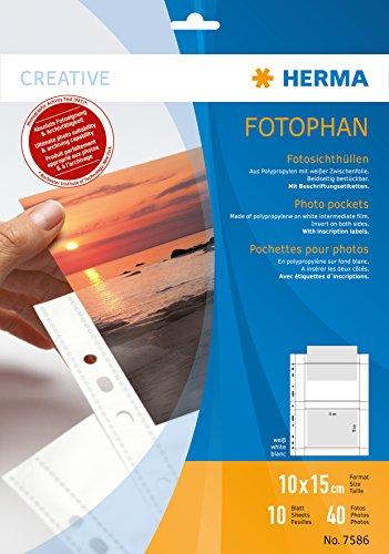 Herma 7586 Fotophan Fotohüllen weiß (für max. 40 Fotos im Querformat 10 x 15 cm) 10 Sichthüllen, beidseitig befüllbar, inkl. Beschriftungsetiketten, für alle gängigen Foto-Ordner und -Ringbücher