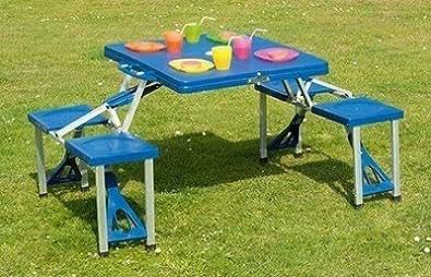 TABLE ET CHAISES VALISETTE PLIABLE VALISE PIC NIC CAMPING OU JARDIN 4 PERSONNES