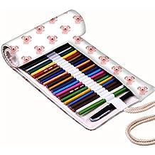 Snoogg Pequeño cachorro Lienzo diseño de patrón blanco Wrap Soporte Para Rollo de papel de 48lápices de colores, funda para bolígrafo de Gel, bolsa organizadora de viaje para artista, multiusos (lápices no incluidos), 48agujeros