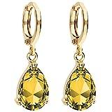 MYA art Damen Goldene Creolen Ohrringe Hängend Ohrhänger mit Zirkonia Stein Tropfen Oval Anhänger Gold...