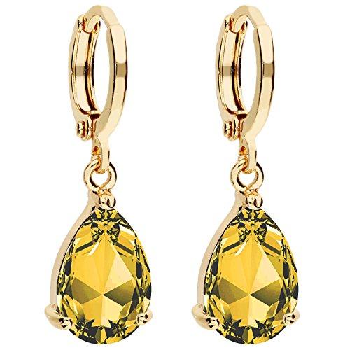 MYA art Damen Goldene Creolen Ohrringe Hängend Ohrhänger mit Zirkonia Stein Tropfen Oval Anhänger Gold Vergoldet Gelbgold Citrin Gelb MYAGOOHR-39