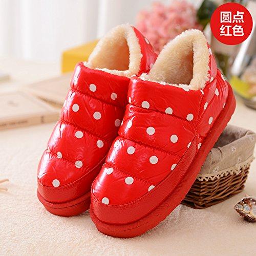 DogHaccd pantofole,Inverno paio di pantofole di cotone confezione con gli uomini e le donne calde scarpe indoor cotone impermeabile indossa spesso, antiscivolo scarpe di cotone Yu rosso rotondo3