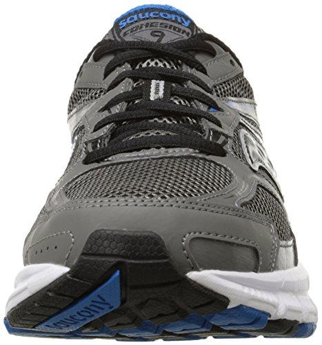 Saucony Mens Cohesion 9 Running Shoe, Grey/Black/Royal, 10 M US Grey/Black/Royal