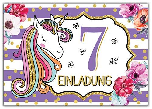 Junaversum 12 Einladungskarten zum 7. Kindergeburtstag Mädchen Einhorn Unicorn Einladungen zum siebten Geburtstag siebte