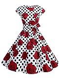 Dressystar DS1956 Women Vintage 1950s Retro Rockabilly Prom Dresses Cap-Sleeve XXL White Black Rose
