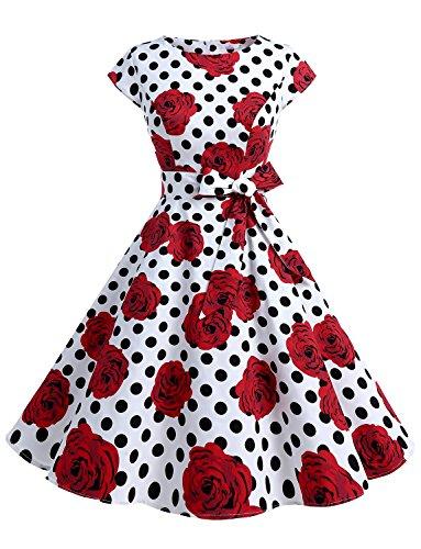 Dressystar Damen Vintage 50er Cap Sleeves Dot Einfarbig Rockabilly Swing Kleider Weiß Schwarz Rose XS (Kleid Rose)