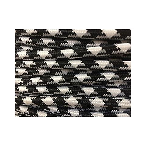 Fil électrique tissé fresque triangulaire blanc/noir vintage look retro en