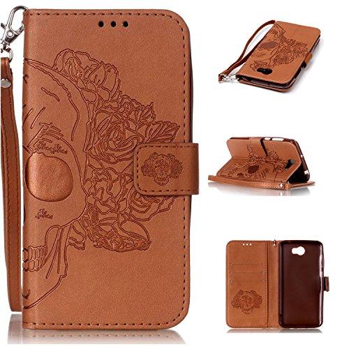 Cozy Hut Huawei Y5 II Hülle, Huawei Y5 2 Case, Huawei Y5 II / Y5 2 (5,0 Zoll) Drucken(Rosen-Schädel) PU Ledercase Tasche Hüllen Schutzhülle Scratch Magnetverschluss Telefon-Kasten Handyhüll