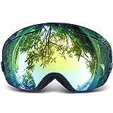 Copozz Pro-Maschera da sci, lenti da sole leggeri UV400, sportivi, protezione UV Anti-appannamento per maschera da sci invernali da sci (Nero)