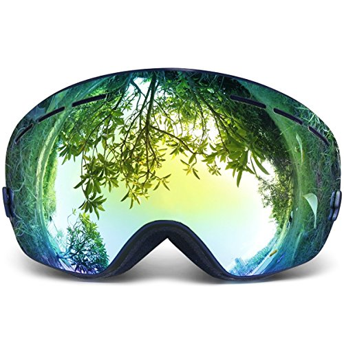 51KYojXO9bL - Copozz Ski Goggles Pro Snowboarding Goggle with UV 400 Double Lens Anti-fog Ski Goggle for Winter Skiing Skate for Women and Man (Black) sports best price Review uk