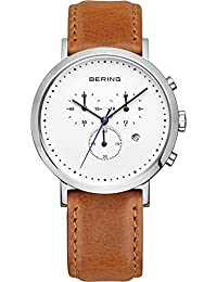 Bering Classic–Reloj de pulsera para hombre cronógrafo cuarzo piel 10540–504