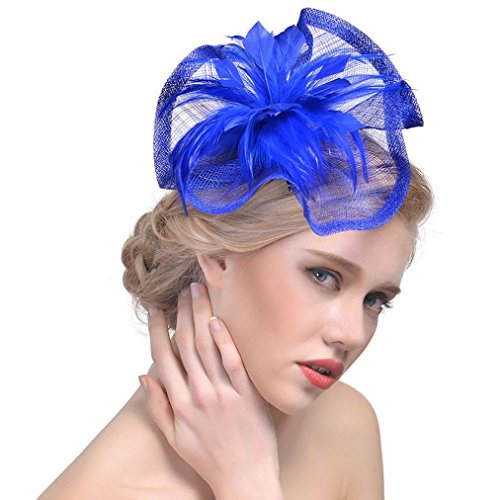 erthome Damen Hüte, Frauen Blume Mesh Ribbons Federn Stirnband Cocktail Tea Party Hut Kopfbedeckungen Stirnbänder (Blau)
