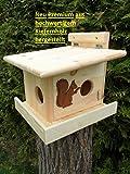 Eichhörnchenfutterhaus- Eichhörnchen-Haus-XXXL-Eichhörnchenhaus-Futterautomat-Futterhaus-Nistkasten-Kobel-Holzschindeldach-Vogelhaus Wahlweise mit oder ohne Ständer, Imprägniert oder Naturbelassen (Eichhörnchenkobel)