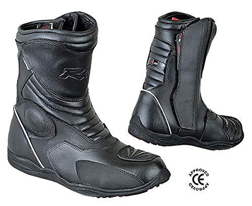 BIESSE - Stivaletti Moto Enduro Touring, in vera pelle, misure dal 39 al 47, impermeabili, colore Nero, Certificati CE (nero, 45)